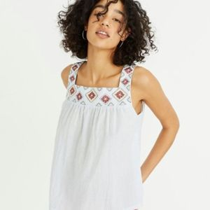 Madewell Embroidered Island Tank Top in Stripe